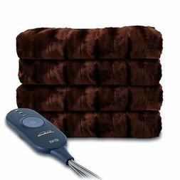 Sunbeam Heated Throw Blanket   Faux Fur, 3 Heat Settings, Wa