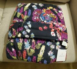 Vera Bradley MIDNIGHT WILDFLOWERS Fleece Travel Blanket
