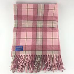 Pendleton Mills Virgin Wool Pink Gray Plaid Fringe Throw Bla