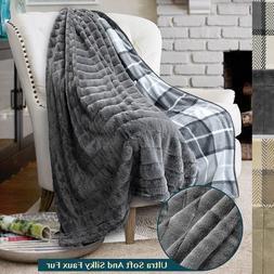 PAVILIA Minky Faux Fur Plaid Throw Blanket Reversible Soft F