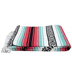 Open Road Goods Mint Green and Coral Red Pink Mexican Blanke