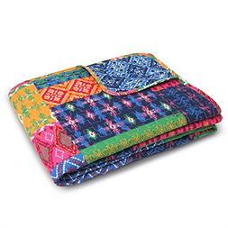 "Lush Decor Misha Throw Blanket, 60 x 50"", Fuchsia/Navy"