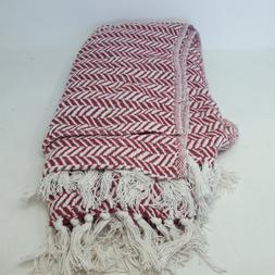 DII Modern Farmhouse Cotton Herringbone Blanket Throw with F