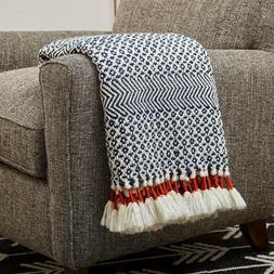 Rivet Modern Hand-Woven Stripe Fringe Throw Blanket, Soft an
