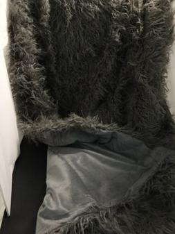 mongolian faux fur throw blanket grey 60