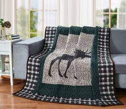 Moose Plaid Quilt Throw Blanket, Lodge Cabin Mountain Style