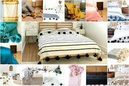 MOROCCAN POMPOM BLANKET Cotton Luxury Bohemian Bedspread Mor