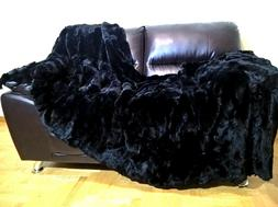 Multipack : Luxury Real Black Rex Rabbit Throw Blanket and a