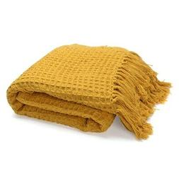 100% Cotton Mustard Honeycomb Pattern Machine Wash Throw Bla