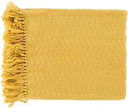 Diva At Home Mustard Yellow Chevron Cotton Fringed Decorativ