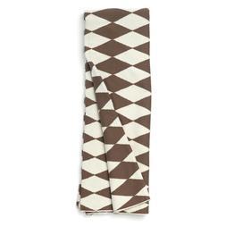 NAT Beige Brown Diagonal Checkered Print Cotton Blanket Thro