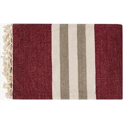 """Diva At Home 50"""" x 70"""" Nautical Nights Burgundy, Ivory and T"""