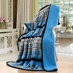 Navajo Print Turquoise Throw Blanket Sherpa Southwest Native