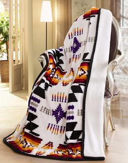 Navajo Print White Throw Blanket Sherpa Lined Southwest Nati