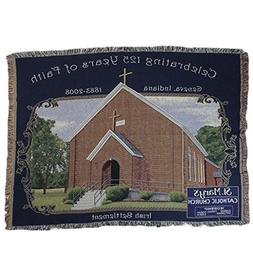Simply Home Navy Blue and Brown St. Mary's Catholic Church T