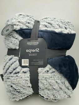 "Berkshire Blanket Navy Blue Sherpa throw 55"" x 70"" Super Sof"