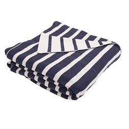 Diva At Home Navy Blue and Natural White Stripe Patterned Th