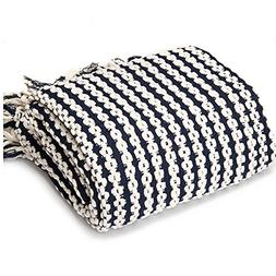 Battilo Navy and White Chain Link Knit Fashion Throw Blanket