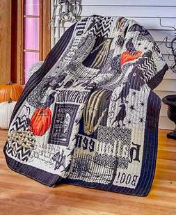 Nevermore Quilted Halloween Throw Blanket