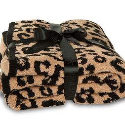 CozyChic Barefoot Dreams Throw Blanket in WILD Leopard Tan B