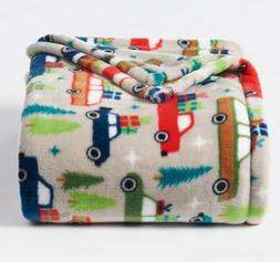 NEW Christmas Holiday Boy Trucks Throw Blanket Oversize Supe