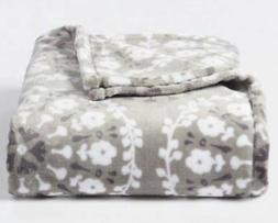 New Big One Oversize Gray Poppy Floral Medallion Soft Throw
