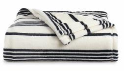 New Big One Oversized Ivory Black Striped Soft Plush Throw B