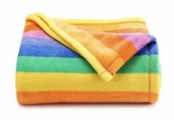 New Big One Oversized Yellow Blue Rainbow Striped Soft Throw