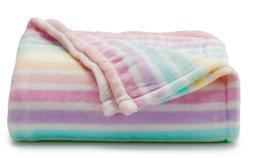 New Big One Pink Lilac Blue Pastel Stripes Soft Plush Throw