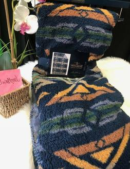 NEW! Pendleton Blanket Throw Aztec Blue Camel Sherpa Fleece