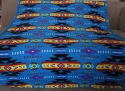 New Blue 50x60 Southwest Aztec Fleece Throw Gift Blanket Rev