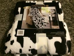 NEW COW PRINT WHITE BLACK Soft Light Weight Sherpa Luxury Th