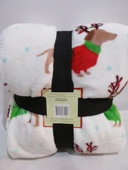 NEW Berkshire Dachshund Dog Holiday Christmas Plush Throw Bl
