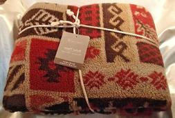 NEW Home Trends Fall Print Throw Blanket Red Beige Brown 50""