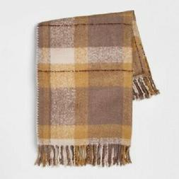 new faux mohair plaid gold throw blanket