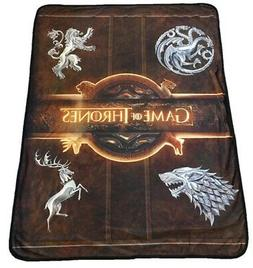 New Golden Logo Game of Thrones Smooth Fleece Gift Throw Bla