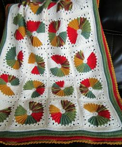 NEW HAND CROCHET COTTON RED GREEN GOLD WHEELS  AFGHAN LAP BL