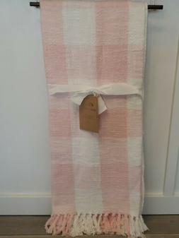 New Hand Woven Pink White Buffalo Check Gingham Fringe Throw