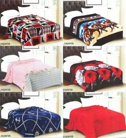 New light weight Throw soft Flannel Blanket Queen Size Mix D