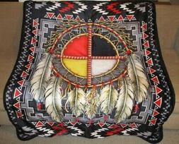 New Medicine Wheel Sherpa Plush Throw Gift Blanket Dreamcatc