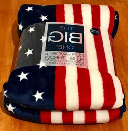 New The Big One Oversized Red White Blue Patriotic Soft Thro