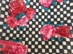 New Betsey Johnson Pink Roses on Taxi Checked Black Plush Th