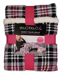 New Cuddl Duds Plush Velvet Throw Blanket with Sherpa Lined