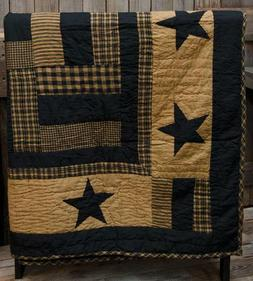 New Primitive DELAWARE BLACK STAR QUILT Tan Patchwork Quilte