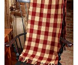 New Primitive Rustic BARN RED CHECKED THROW Afghan Blanket