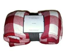 "NEW Threshold Red Gingham Throw Blanket 50"" x 60"""