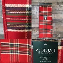 New Ralph Lauren Red Tartan Plaid Throw Blanket Brushed Cott