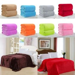 NEW Super Soft Solid Warm Micro Plush Fleece Blanket Throw R
