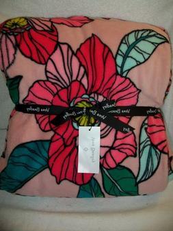 New Vera Bradley Throw Blanket Vintage Floral Pink Factory O