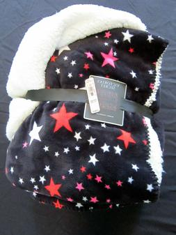 """New Victoria's Secret 50 x 60"""" black sherpa blanket with pin"""